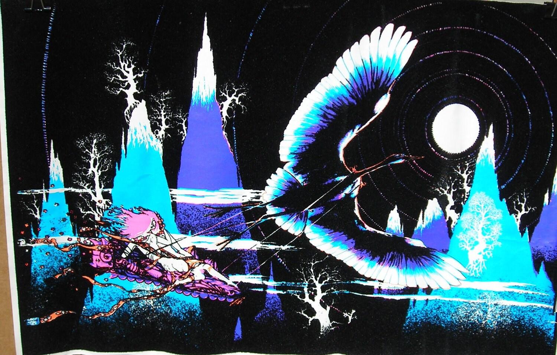 Vtg SMALL 70s El Condor Black Light Flocked Hippie Poster