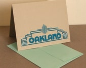 Single Oakland Fox Theater Marquee Linocut Card in Teal