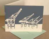 Linocut Port of Oakland Cranes Card in Gray