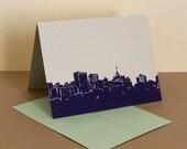Single Oakland Skyline Linocut Card in Violet