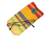 Sunglasses case - cotton canvas - deckchair stripes - eye glass case