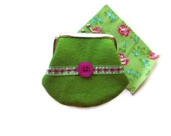 Felt Coin Purse -Spring Green -gingham ribbon detail-UK Seller