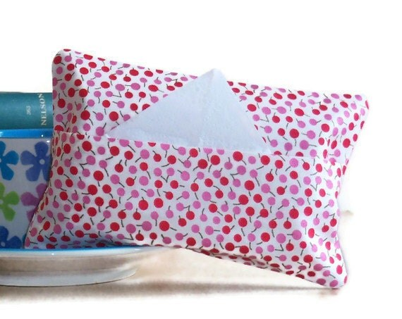 Tissue Packet Cover - envelope opening - cherry design fabric