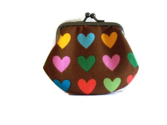 Framed coin purse - heart design - small- UK Seller