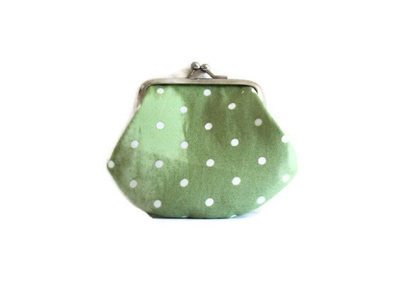 Small Change Purse - sage green with white polka dots - kiss clasp frame- UK Seller