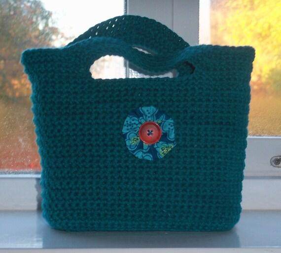 OOAK - Crocheted Cotton Handbag - button rosette detail
