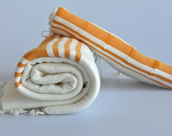Turkish Towel Set Handwoven Peshtemal and Head Towel with orange stripes