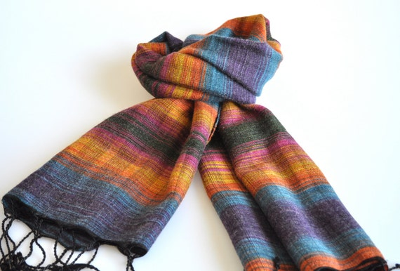 Handwoven Karia Angora Wool Scarf in Multicolor