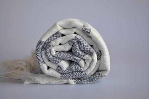 Handwoven Turkish Towel - Handwoven Peshtemal Towel ,  Linen dark grey striped , Bohemian Style