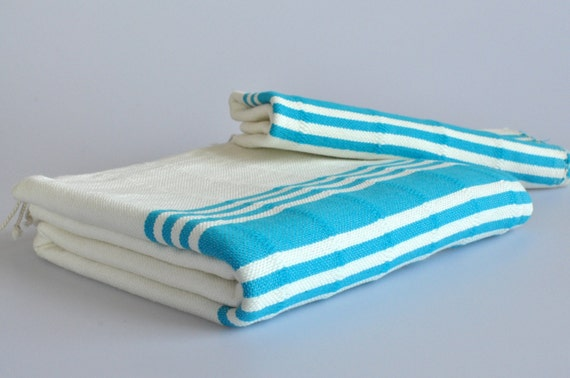 Turkish Towel Set hand loomed Peshtemal and Head Towel turquoise striped ivory