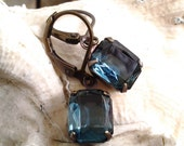 Vintage Crystal Jewels Earrings with 10x8mm Crystal Montana Blue Jewels