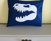 Blue and White Throw Cusion Pillow with TRex Dinosaur Skull Motif. Home Decor.  Made from 100% repurposed materials