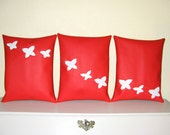 3 Red and White Throw Cushions. Butterflies Set of Home Decor Pllows