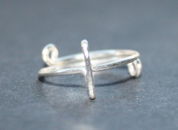 Sideways Cross Ring, Silver Wire Adjustable, Fits Your Size