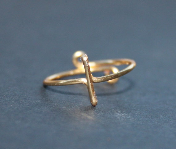 Sideways Cross Ring, Gold Wire Adjustable, Fits Your Size
