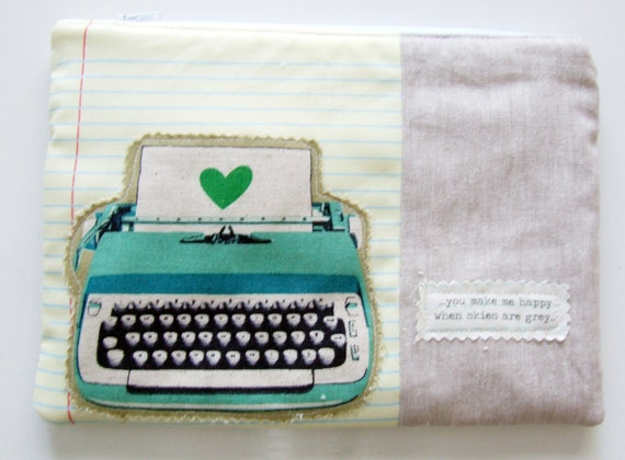 Typewriters  Zipper Pouch Notebook Fabric Padded Pouch