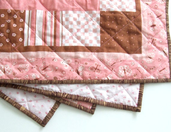 Pink Baby Quilt - Ballerina Quilt - Wall Hanging