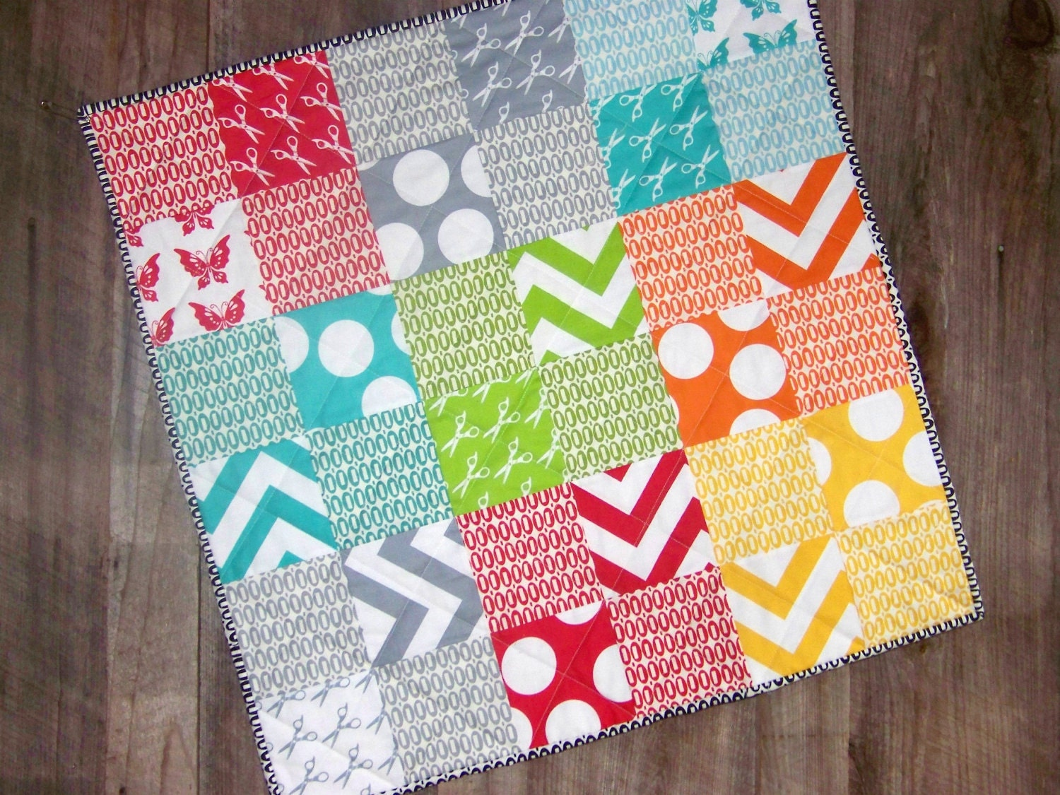 Modern Baby Quilt Playmat Bright Colors Designer Cotton