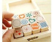 Wooden Rubber Stamp Box -12 kinds Korea DIY Wooden Rubber Stamp Box - Diary Stamps --Lovely background
