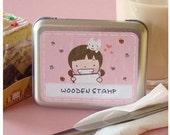 Korea DIY Kawaii Diary Stamps Little Girl Iron Boxes Seal Decoden Rubber Stamp-Pink- 11Pcs
