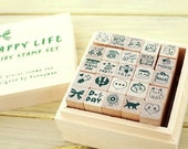Wooden Rubber Stamp Box -Korea DIY Woodiness stamp diary stamp set---Happy Life