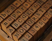 On Sale - Wooden Rubber Stamp Box - Vintage Print Style - Capital Alphabet Stamp and Number Stamp - 70 Pcs