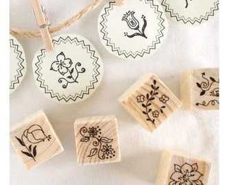 12 Kinds Korea DIY decoden Wooden Stamp Set Rubber Stamps-Flowers