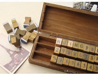 42 kinds of Korea DIY Woodiness vintage Letters/ Numbers /punctuation /stamp set /seal stamp /rubber stamp set