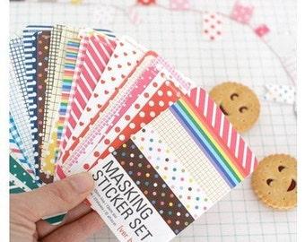 27 Sheets Korea Pretty Sticker Set - Paper Deco Sticker Set-Colorful Paper Tape-Basic