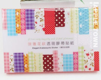 12 Sheets Korea Deco Translucent Sticker Set - Paper Sticker Set - Deco Sticker