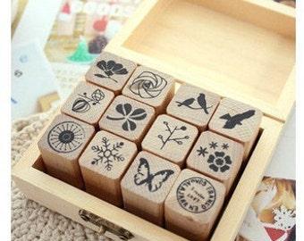 Wooden Rubber Stamp Box -12 kinds Korea DIY Wooden Rubber Stamp Box - Diary Stamps -Natural