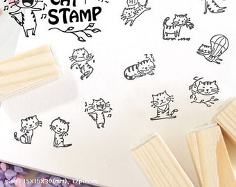 Wooden Rubber Stamp Set Korea DIY Wooden Decoden Stamps-Cat
