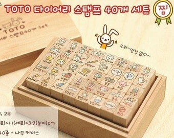 Wooden Rubber Stamp Set 40 kinds Korea DIY Woodiness ToTo Lovely Rabbit Diary Stamp Set