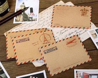 4 Sheets Pure Color Kraft Paper The MiNi Ancient Envelopes Sets 4 Pattern of each piece