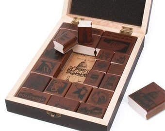 On Sale-Wooden Rubber Stamp Box - Alphabet Stamps -Korea Vintage American World Stamp Gift Box