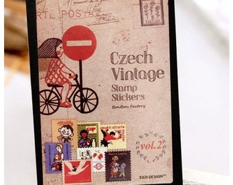 16 Sheets Korea Vintage Stamp Stickers Paper Deco Sticker --Bicycle Girl