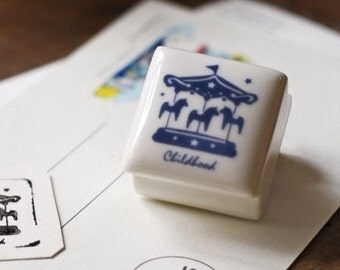 Rubber Stamp- Korea DIY Ceramics Stamp Diary Stamp Set---Merry-Go-Round