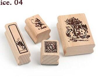 Korea DIY Woodiness rubber stamp-DIY Tin Box Stamp Set- Alice Series 4