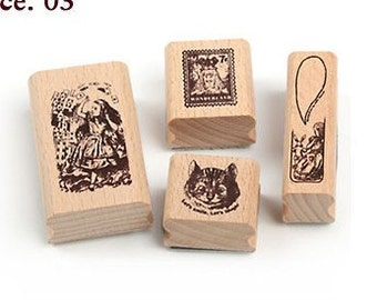 Korea DIY Woodiness rubber stamp-DIY Tin Box Stamp Set- Alice Series 3