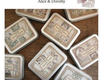 Korea DIY Woodiness rubber stamp-DIY Tin Box Stamp Set- Alice Series 1