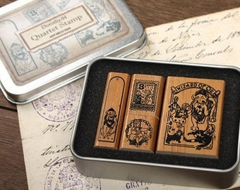 Korea DIY Woodiness rubber stamp-DIY Tin Box Stamp Set- Dorothy Series 4