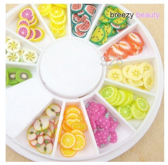 Japanese Polymer Clay Cane Piece of- Assorted 12 Color fruit (180 pcs) Miniature Food tool box together
