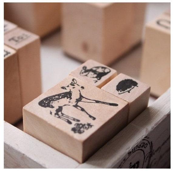 3 kinds of Korea DIY Woodiness vintage stamp set--Deer series