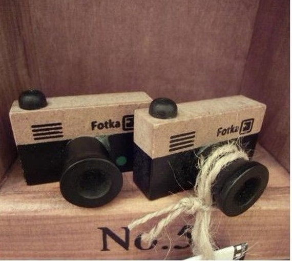 2Pcs Wooden Rubber Stamp - Vintage Style - Camera Stamp