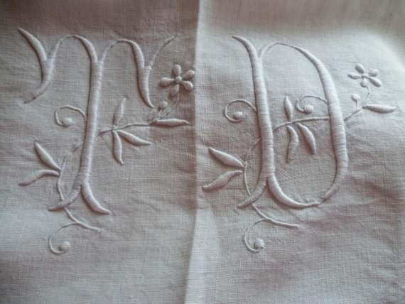 Vintage French  Pure Linen  Sheet, Monogrammed T.D, Unused Circa 1940-1950