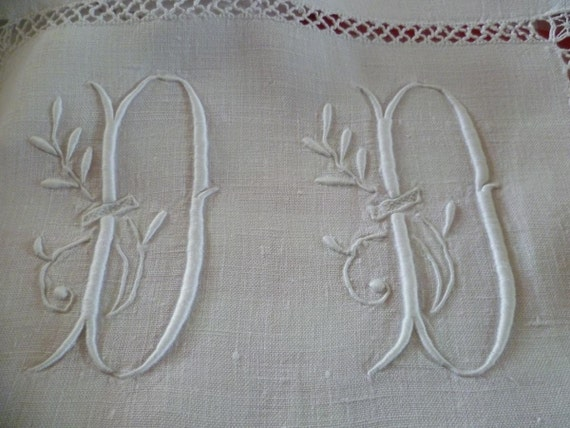 Vintage French  Pure Linen  Sheet, Monogrammed D.D.(USED) Circa 1920's
