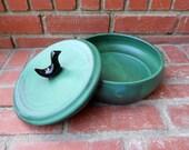 Little Black Bird Green Matte Casserole Baking Dish with Lid