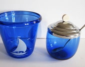 Two Art Deco Blue Glass Pieces / Ice Bucket, Covered Sugar w/ Spoon