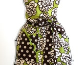 Women's Apron - Green & Brown with Polka Dots