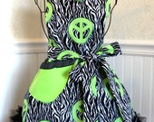 Junior Bib Apron - Black & White Zebra Stripes with Lime Green Peace Signs